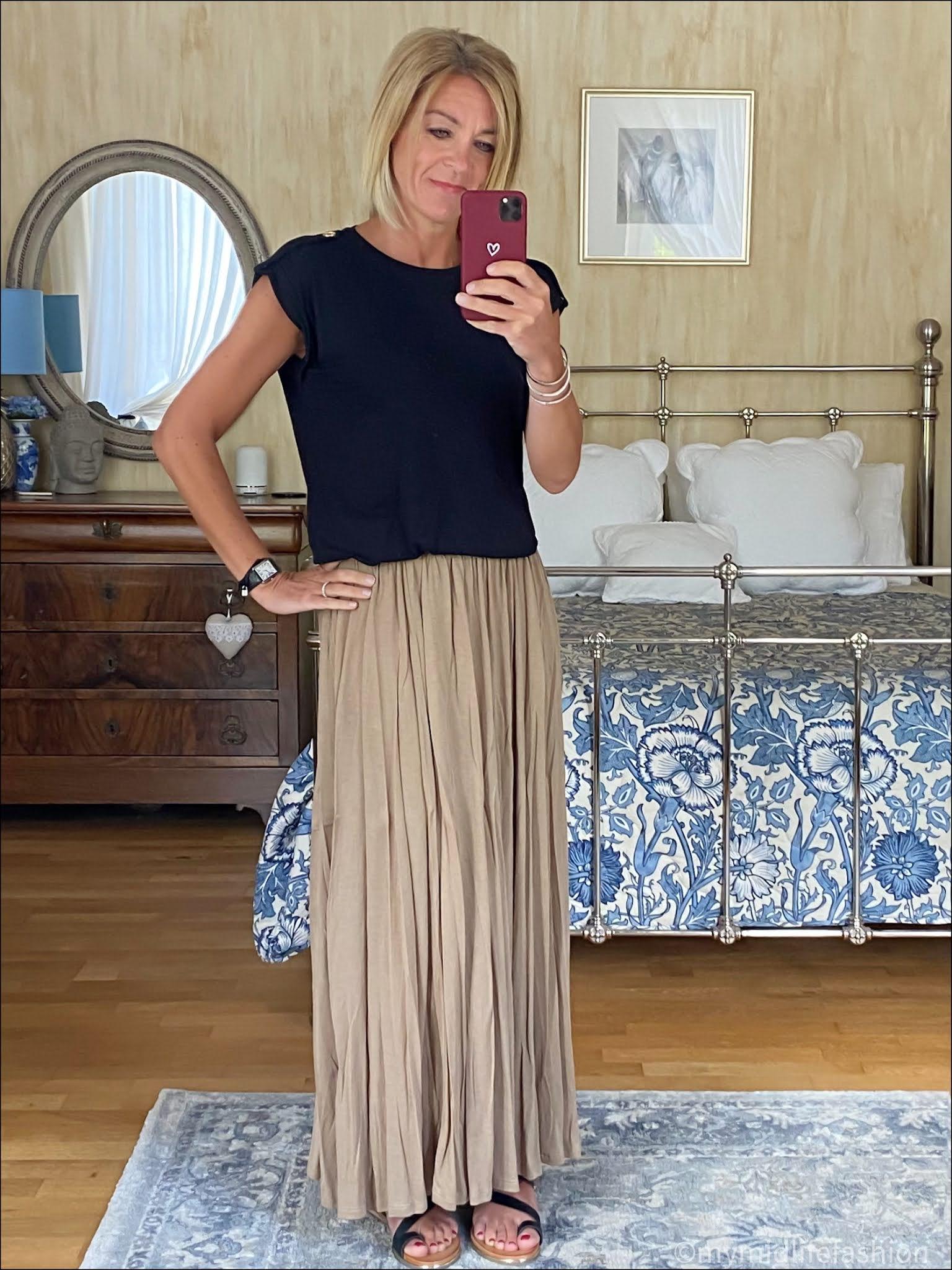 my midlife fashion, saint and Sofia turn up tee, Carvela karafe sandals, h and m lyocell skirt
