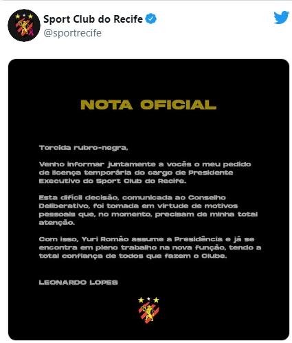 presidente do Sport pede afastamento