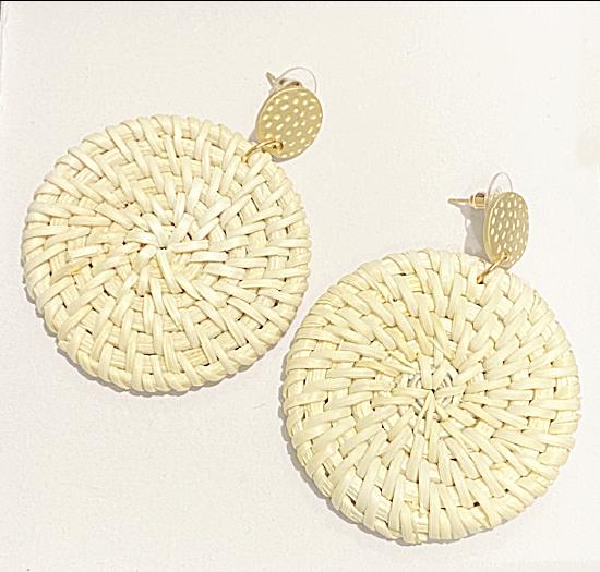 light weight white rattan earrings