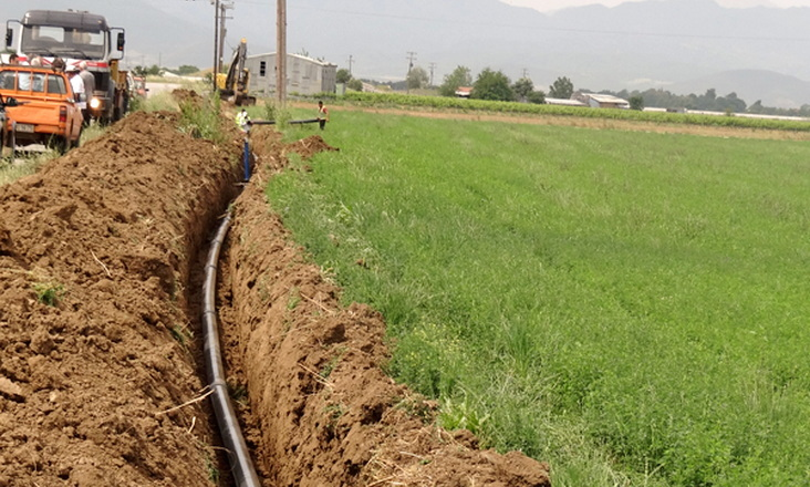 Κατασκευή υπόγειων δικτύων άρδευσης στις γεωτρήσεις του αγροκτήματος Οινόης - Σάκκου Ορεστιάδας