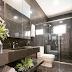 Banheiro com parede, piso e bancada todo em porcelanato marmorizado escuro!
