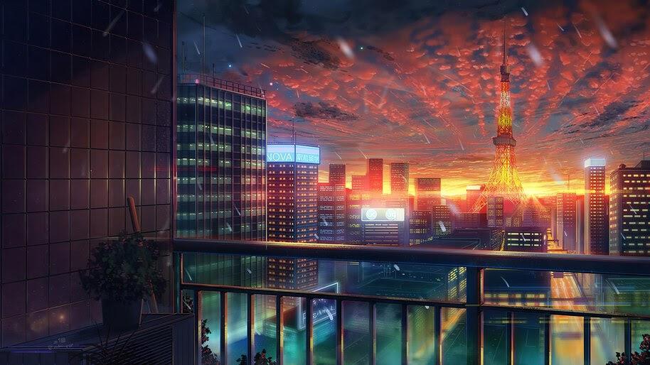 Tokyo Tower, City, Scenery, Sunset, Anime, 4K, #6.1007