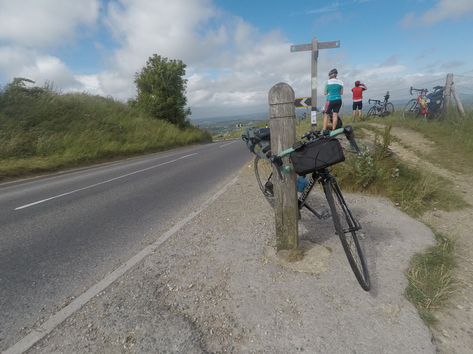 fuel for long rides - taking a break on ditching beacon