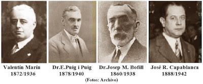 Los ajedrecistas Valentín Marín, Dr. Esteve Puig i Puig, Dr. Josep Maria Bofill i Pichot y José Raúl Capablanca