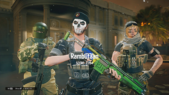 Screenshot of Caveira, Tachanka and Valkyrie in Rainbow Six Siege
