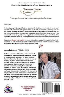 contraportada de la novela Seducir a un asesino, de Antonio Arteaga