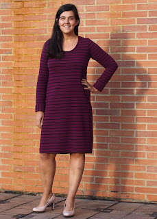 Purple and black striped Ottoman knit dress made from the Plantain T-Shirt Sewing Pattern.