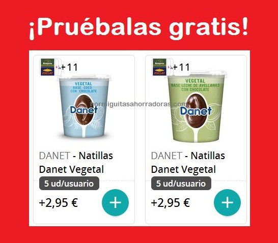 Prueba gratis la nuevas natillas Danet Vegetal