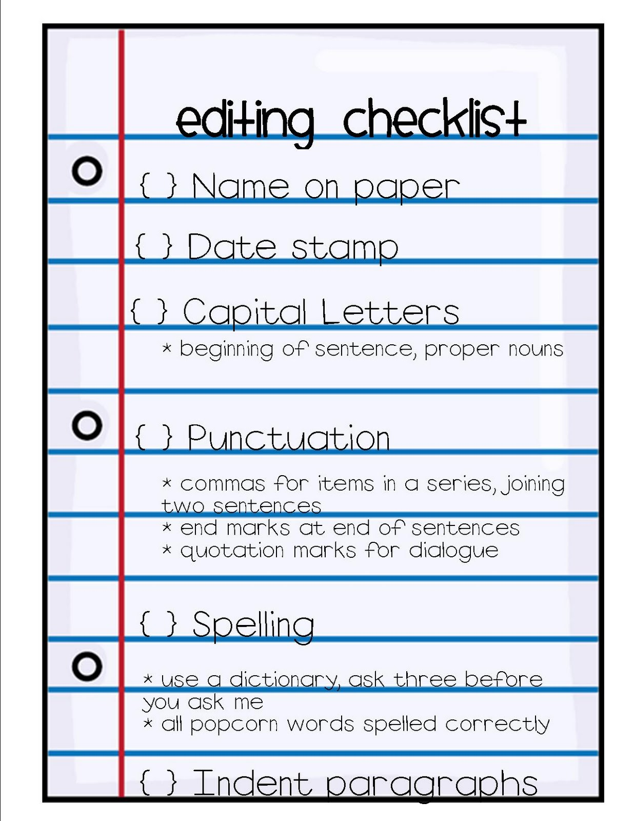 Research Paper Editing Checklist Middle School
