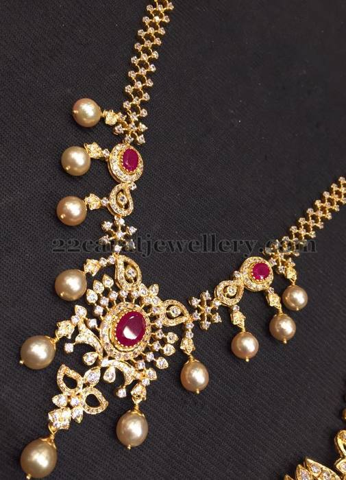 32 Grams Cz Ruby Necklace Jewellery Designs