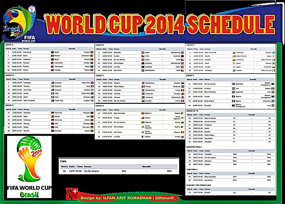Jadwal Piala Dunia FIFA 2014 (FIFA WORLD CUP 2014 SCHEDULE)