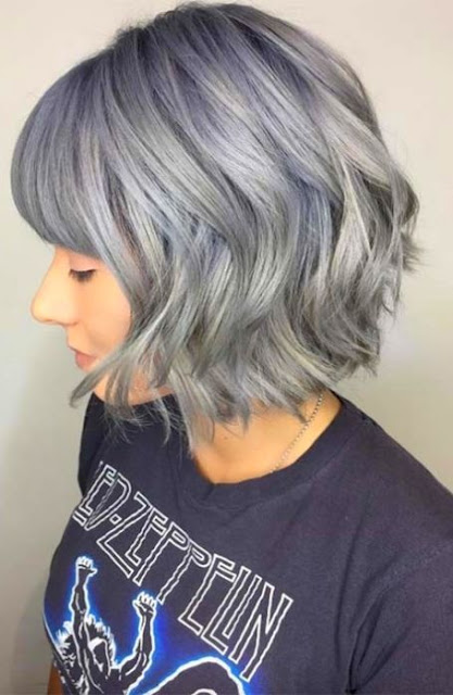 Textured Bob With Silver Hair Color