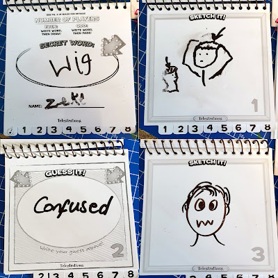 Telestrations party game drawings guesses word examples