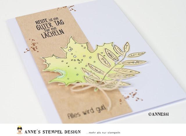 Kartenbeispiel: Herbstblätter stanzen für kreative Karten mit deutschen Spruchstempeln für fast alle Anlässe von Annes Stempel-Design