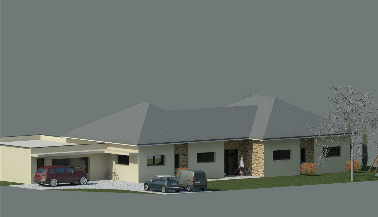 plan de maison plain pied en l. Black Bedroom Furniture Sets. Home Design Ideas