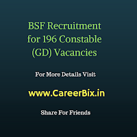BSF Recruitment for 196 Constable (GD) Vacancies