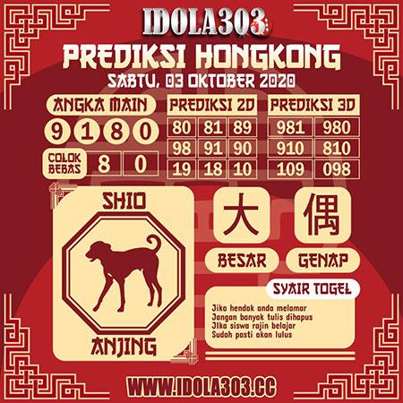 Prediksi Togel Idola303 Hongkong Sabtu 03 Oktober 2020