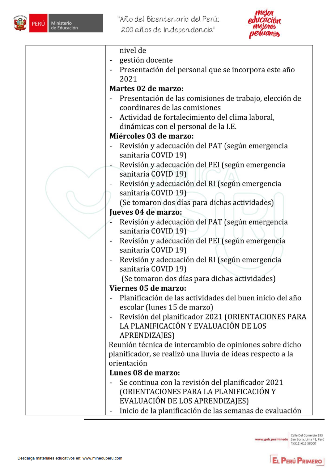 Informe de actividades mes de marzo 2021