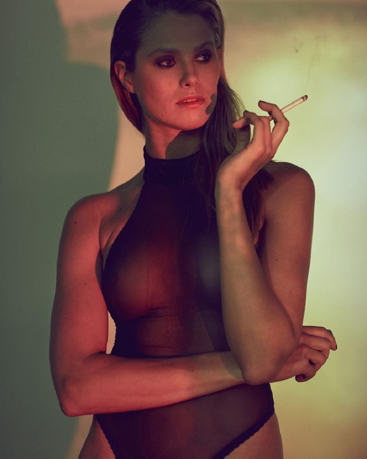 NATALIE JAYNE ROSER in black net dress for Series 60 2020