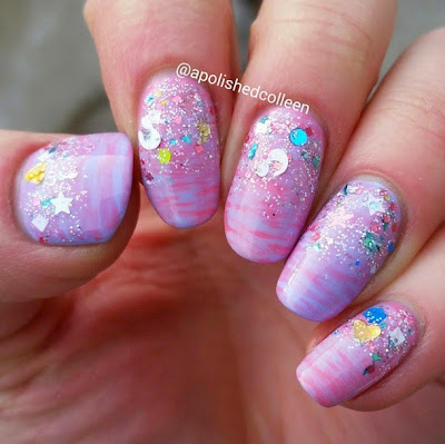 Cotton Candy Bubble Bath Glitter Lambs Nail Polish Swatched By @apolishedcolleen
