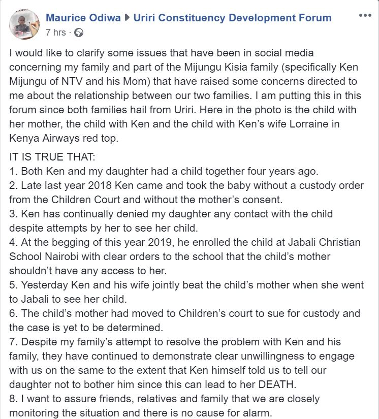 Explosive 8-Point Post By Relatives of Ken Mijungu's Baby Mama