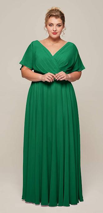 Plus Size Green Chiffon Bridesmaid Dresses