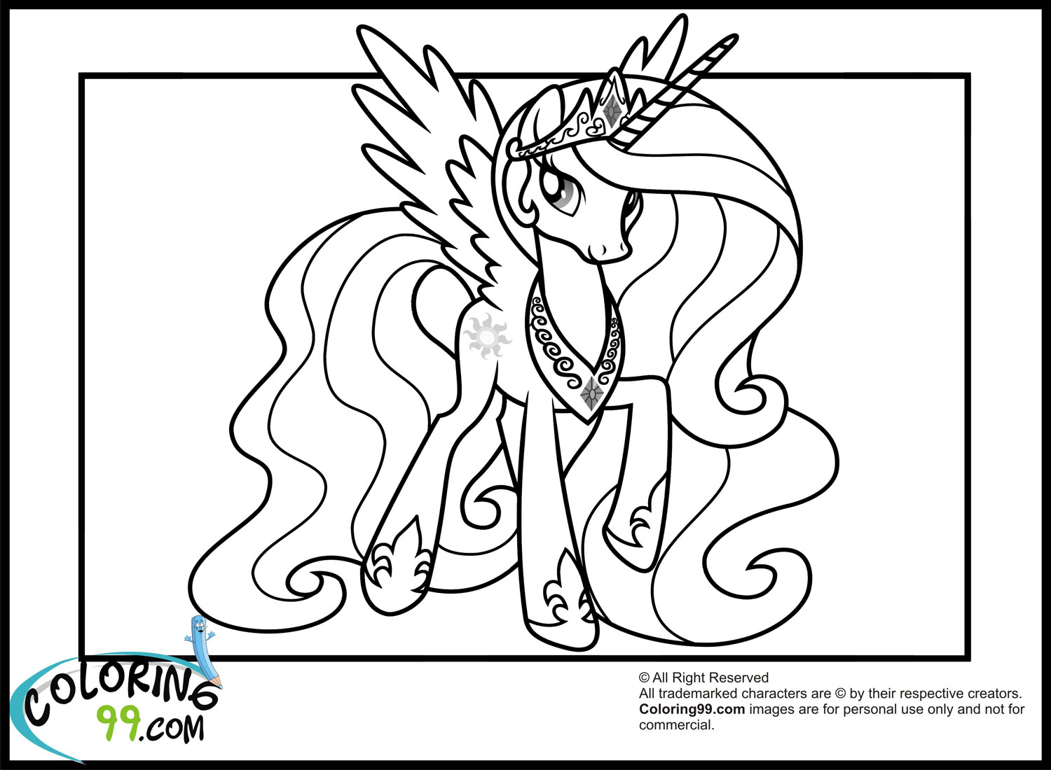 My Little Pony Coloring Pages Celestia