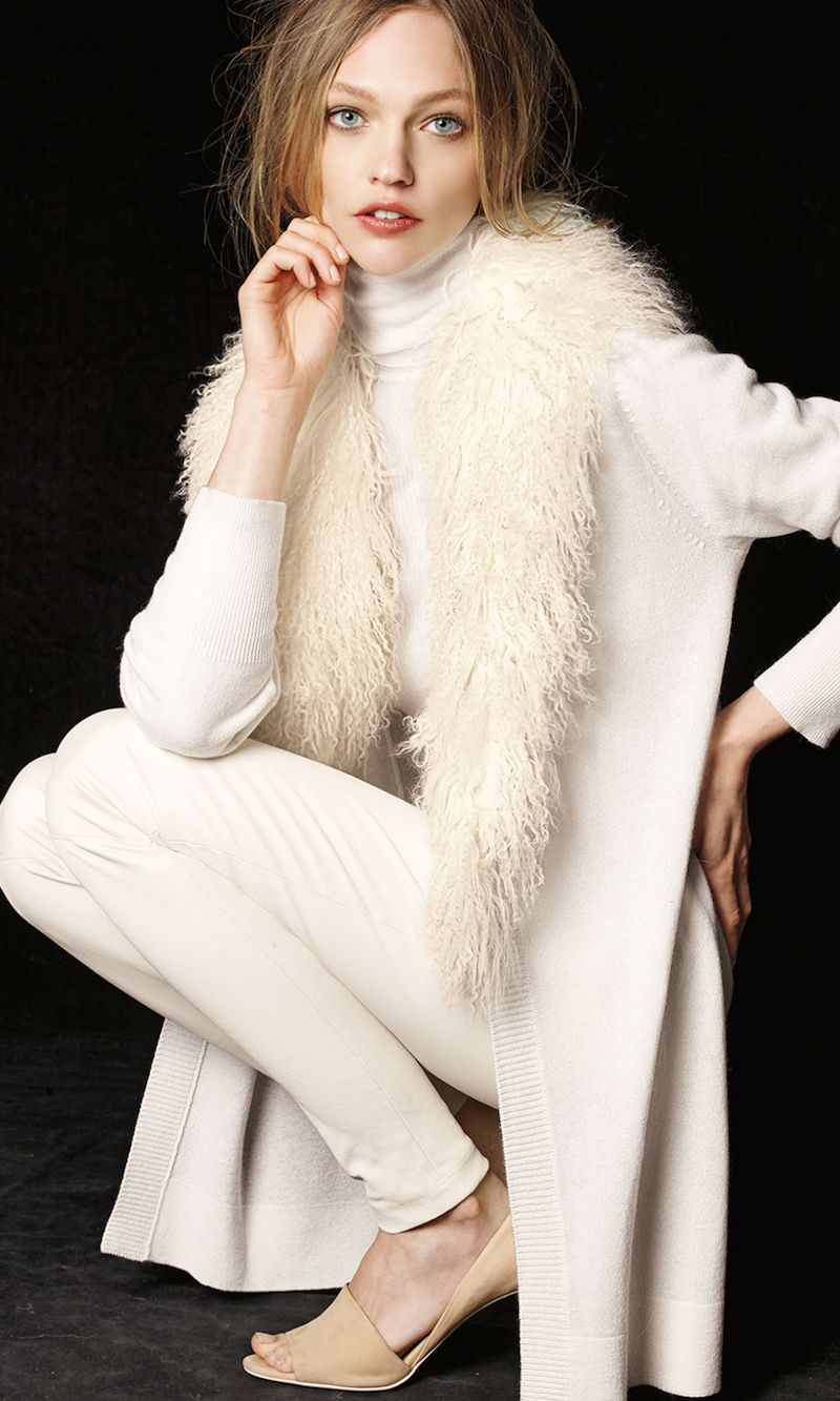 Neiman Marcus Cashmere Collection Mongolian Fur-Collar Cashmere Cardigan