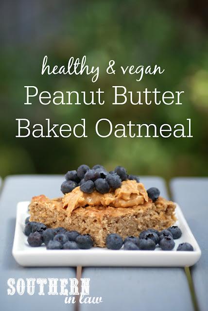 Healthy Vegan Peanut Butter Baked Oatmeal Recipe - low fat, gluten free, healthy, vegan, clean eating recipe, healthy breakfast recipes, freezer friendly,  breakfast meal prep
