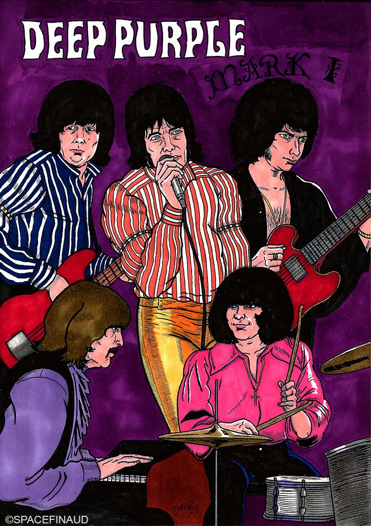 C'est parti pour une série de dessins sur le nombre de formation de Deep Purple entre 1968 et 1976. Et peut être, si j'ai du courage, de 1984 aux années 2020, sachant qu'il existe 8 formations en tout.  Pour le premier dessin, il s'agit de la première formation de Deep Purple avec Ritchie Blackmore à la guitare, Jon Lord au claviers, Ian Paice à la batterie, Rod Evans au chant et Nick Simper à la basse.