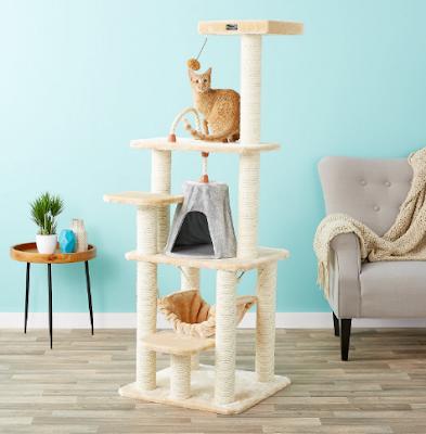 Save 97$ : DEAL Armarkat 65-in Faux Fur Cat Tree & Condo, Beige