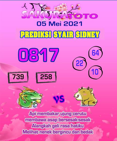 Prediksi Sakura Toto Sidney Rabu 05 Mei 2021