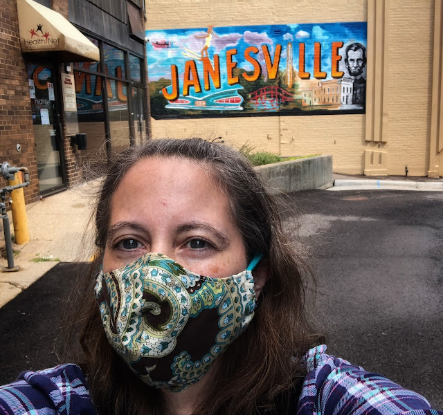 Selfie fun at the Doty Mill Alley Janesville Mural.