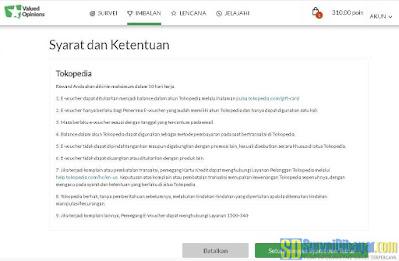 Konfirmasi penukaran poin survey online ValuedOpinions dengan voucher Tokopedia | SurveiDibayar.com