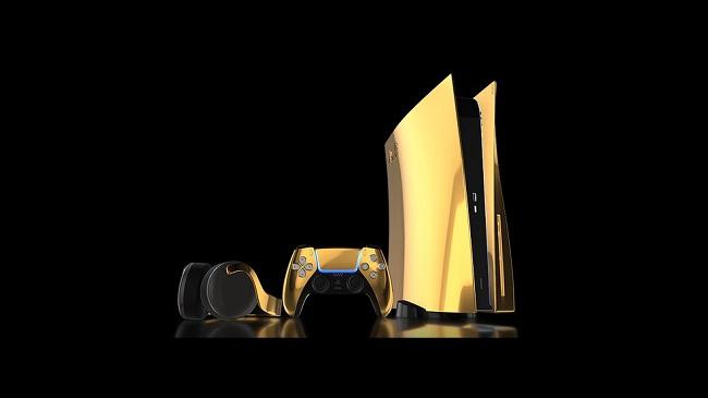 PlayStation 5, controle DualSense e headset Pulse revestidos com ouro/Truly Exquisite/Reprodução