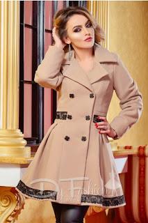 Palton elegant in clos, gros de iarna, bej