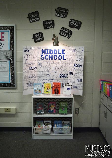 """""""Middle School Mayhem"""" book display"""