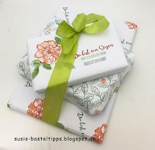 wilde rose stempelset stampin up geschenkpapier, diy, geburtstag, verpackung