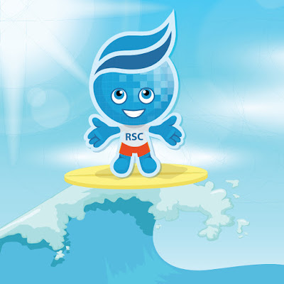 Rio Waves mascot splash on a surf board riding a big wave