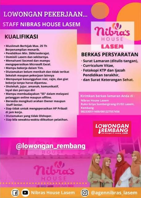 Lowongan Kerja Karyawati Nibras House Lasem Rembang