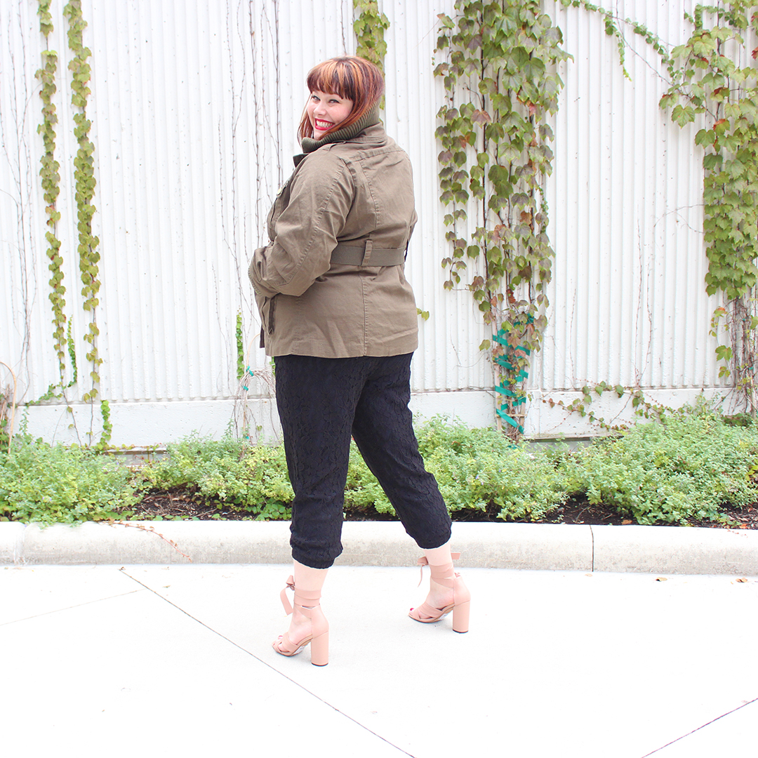 Chicago Plus Size Blogger Amber from Style Plus Curves in Black Lace Jogger Pants, Olive Green Utility Jacket from City Chic, Fullbeauty.com, fall fashion
