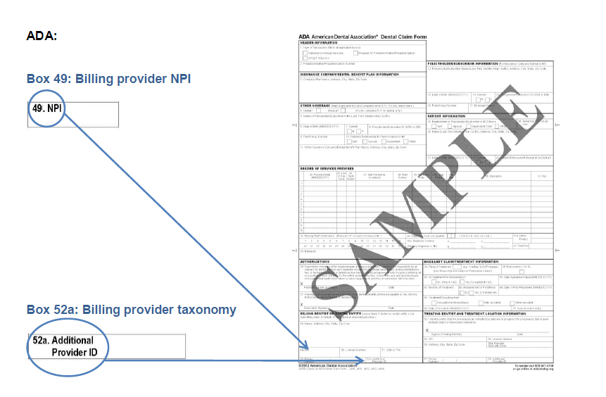 Billing Npi And Rendering Npi In Ada Form Cms 1500 Claim Form And