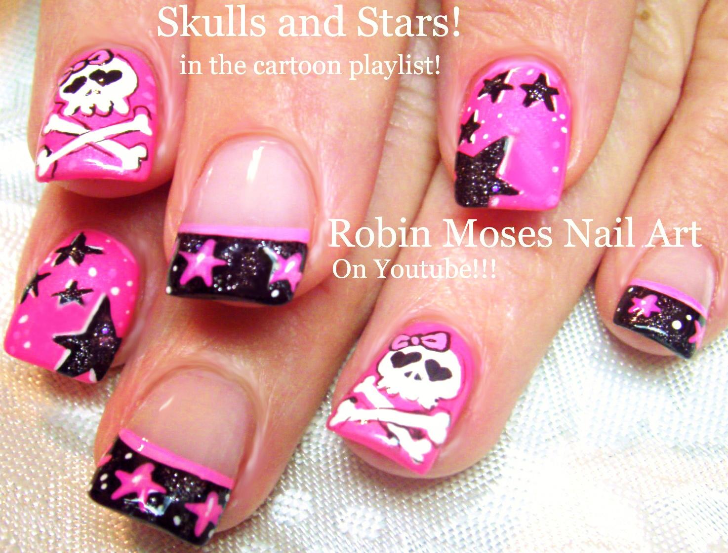 Nail Art By Robin Moses Neon Nails Flaming Skulls Skull Nails