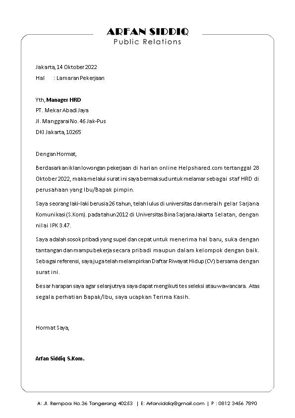 Contoh Surat Lamaran Kerja 3
