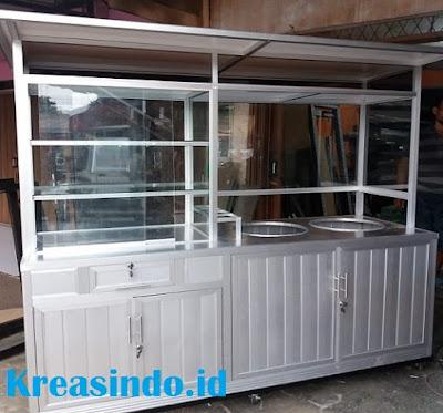 Jasa Gerobak Bakso Alumunium di Cirebon dua Tungku