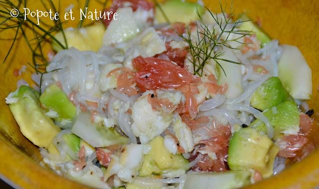 Salade de limande sole au pamplemousse, avocat, fenouil et shirataki de konjac