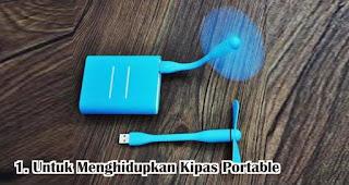 Manfaat Lain Powerbank Untuk Menghidupkan Kipas Portable