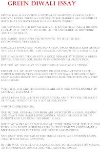 Essay on Pollution free Green Diwali
