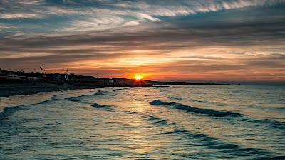 Wallpaper Sea, Sunset, Horizon, Shore Free HD