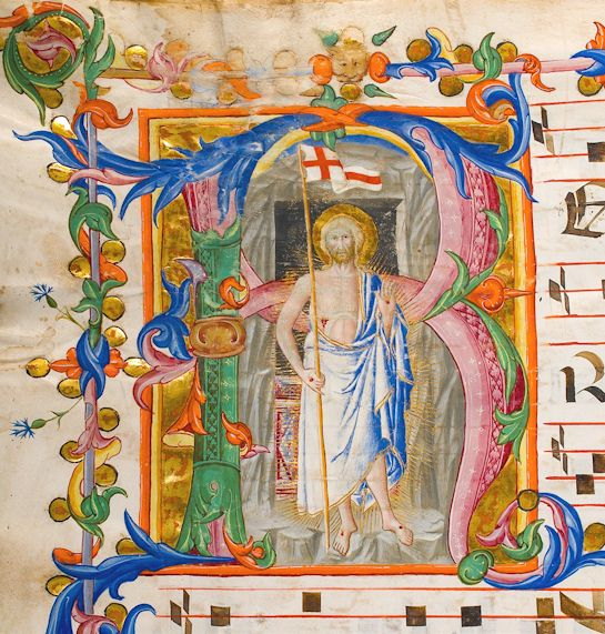 Historiated initial of a manuscript on display at the exhibition Resurrexi: Dalla Passione alla Resurrezione in Siena.